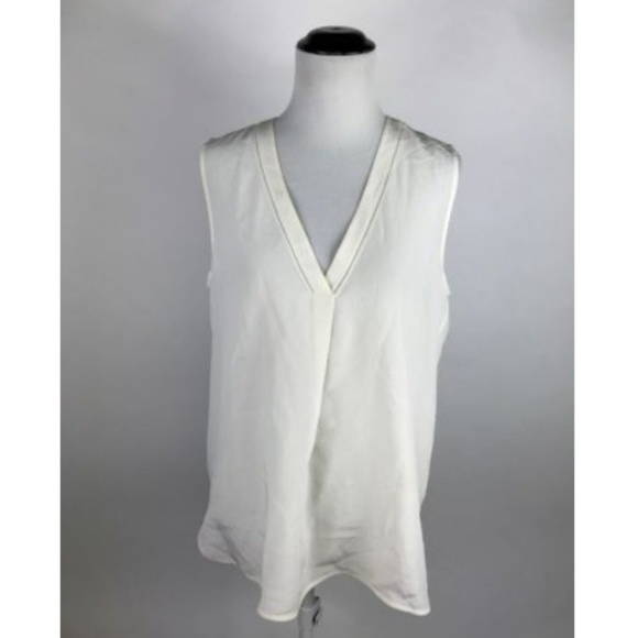 592b08350b8 Vince Cream Ivory Silk Sleeveless V-Neck Tunic Top